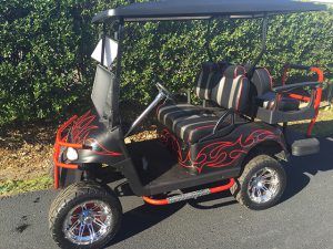 Red Tribal Lifted E-Z-GO RXV