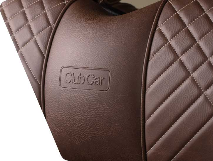Club Car Embossed Brown Leather Golf Cart Seats 725x549 1