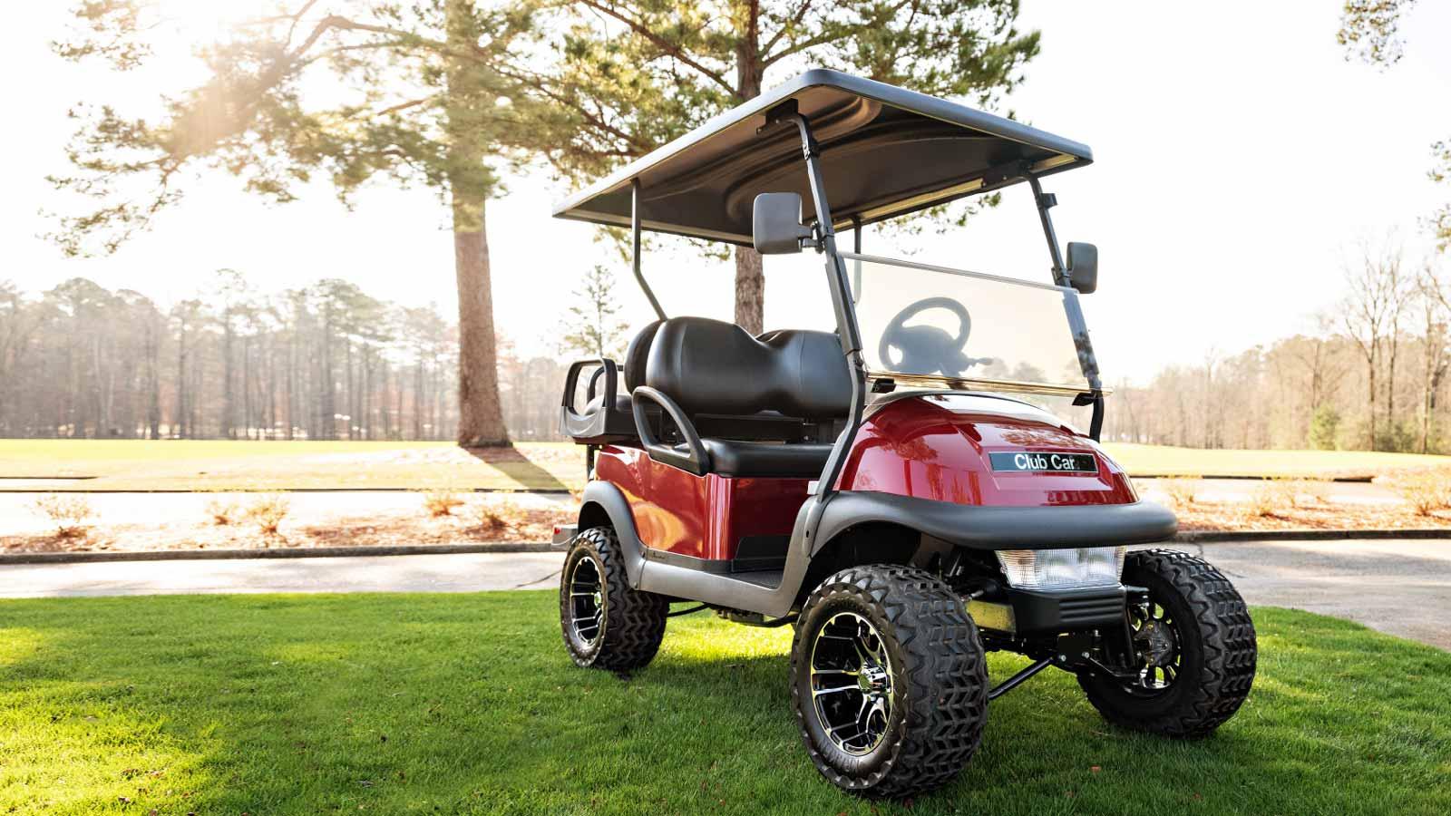 Villager-4-passenger-lifted-golf-cart-metallic-red